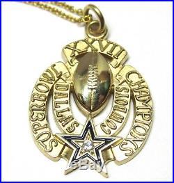 10K Gold Dallas Cowboys Superbowl XXVII Pendant with Diamond + 14K Chain 18