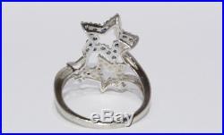 10K Solid White Gold Split Shank Blue & White Stars Dallas Cowboys Themed Ring