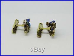 14k Yellow Gold NFL Dallas Cowboys Blue Enamel Cuff Links
