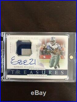 18 National Treasures Ezekiel Elliott /10 Cowboys On Card Auto Game Used Patch