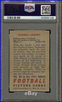 1951 Bowman #20 Tom Landry RC New York Giants Dallas Cowboys