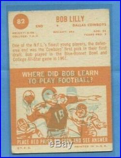 1963 Topps #82 Bob Lilly RC Rookie Card Dallas Cowboys NFL HOF NICE