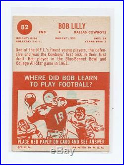 1963 Topps Bob Lilly ROOKIE #82 Dallas Cowboys CREASE FREE NICE CARD