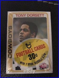 1978 Topps Cello pack Tony Dorsett Rookie on Top. Dallas Cowboys. Bradshaw Botm