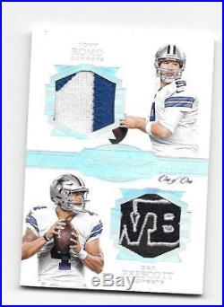 #1/1 Tony Romo Dak Prescott 2016 Flawless Dual Logo Patch Cowboys Rc