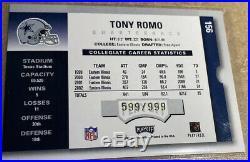 2003 Tony Romo Rc Auto Contenders Rookie Ticket /999