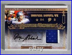 2007 National Treasures Roger Staubach Signed Game-Used Jersey Card Cowboys 2