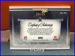 2007 Playoff National Treasures Tony Dorsett Auto & Cowboys Patch #d 25