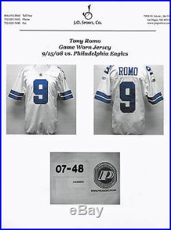 2008 Tony Romo Game Worn Used Dallas Cowboys Jersey 9/15/08 Vs Eagles Jo Sports