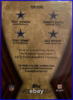 2010 Topps Supreme Troy Aikman Emmitt Smith Tony Romo Dez Bryant Quad Auto 1/5
