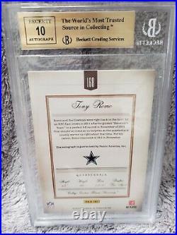 2011 Panini Prime Signatures Tony Romo #168 13/20 BGS 9.5 / Auto 10