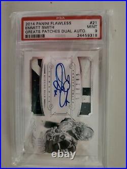 2014 Flawless Greats Emmitt Smith Auto Autograph Dual Jersey PSA 9 Mint Cowboys