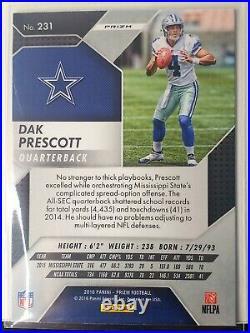 2016 DAK PRESCOTT Rookie Panini Prizm Silver Holo RC Card Dallas Cowboys No. 231