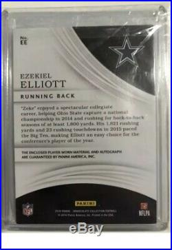 2016 Immaculate Ezekiel Elliott 1/1 Rookie NFL SHIELD AUTO RPA RC COWBOYS LOGO