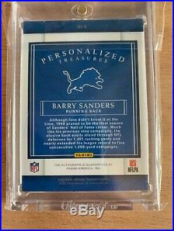 2016 National Treasures Barry Sanders Personalized Auto /10 Lions B On Card