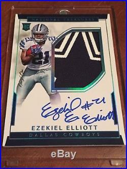 2016 National Treasures Ezekiel Elliott RC Patch Auto Blue RPS #104 True 1/1 RPA