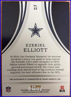 2016 Panini Immaculate Dallas Cowboys Ezekiel Elliott Eye Black Rc Auto 05/25