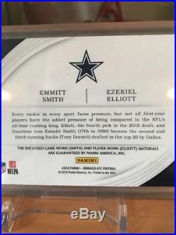 2016 Panini Immaculate Emmitt Smith Ezekiel Elliott Dual NFL SHIELDS 1/1 Cowboys