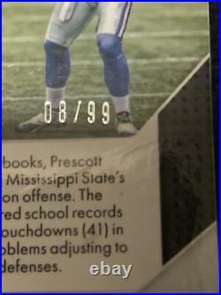 2016 Panini Prizm Dak Prescott Rookie Purple Scope Prizm /99 Cowboys RC (FA07)