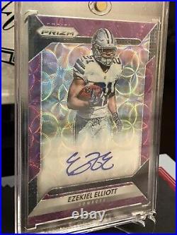 2016 Panini Prizm Football Ezekiel Elliott Purple Scope Rookie Auto /99 Cowboys