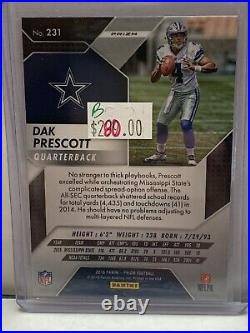 2016 Panini Prizm Silver Prizm Rookie #231 Dak Prescott Dallas Cowboys B