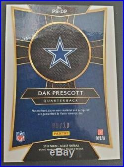 2016 Panini Select Dak Prescott Gold Rookie Patch Auto /10 Cowboys