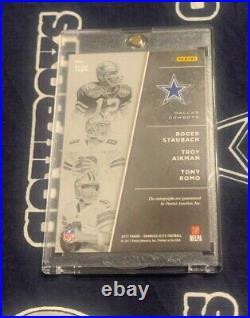 2017 ELITE Dallas Cowboys ROGER STAUBACH Troy Aikman TONY ROMO Autograph AUTO /1