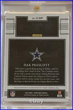 2018 Impeccable Dak Prescott Indelible Ink Auto Autograph 06/10 On Card COWBOYS