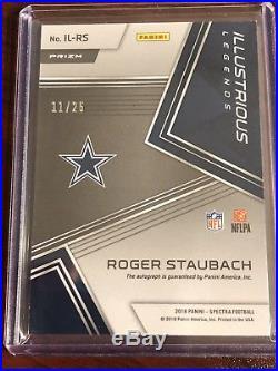 2018 Spectra Football Roger Staubach Auto /25 Cowboys
