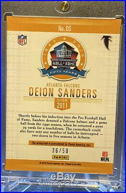 2019 Panini Spectra Deion Sanders Hall Of Fame Auto Autograph #d/50 Cowboys