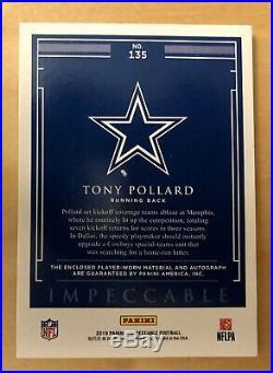 2019 Tony Pollard Auto Helmet Glove Game Used Panini Impeccable #09/19 Rookie