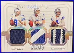 2020 Flawless Dak Prescott Troy Aikman Tony Romo Triple Patch 10/20 Cowboys QB's