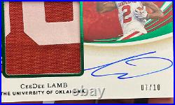 2020 Immaculate CeeDee Lamb #105 FOTL Emerald Green RPA Rookie Patch Auto 7/10