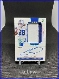 2020 National Treasures CeeDee Lamb Rookie Patch Auto Holo Silver Vertical 4/25
