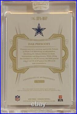 2020 Panini Flawless Dak Prescott Dual Patch On Card Auto 08/10 Cowboys