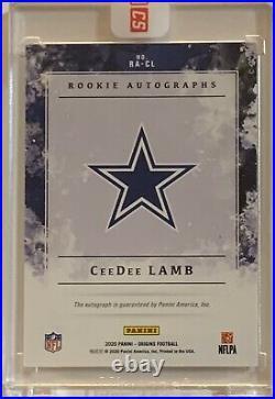 2020 Panini Origins CeeDee Lamb Rookie Encased On Card Auto Emerald 1/5 Cowboys