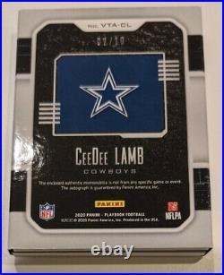 2020 Playbook Ceedee Lamb #/10 Vault Rookie 8 Patch Autograph RPA Relic Cowboys