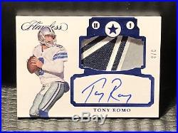 #3/3 Tony Romo 2017 Flawless Jumbo Logo Patch Autograph Sapphire Auto Cowboys