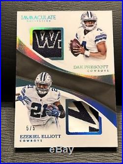 #5/5 Dak Prescott Ezekiel Elliott 2017 Immaculate Dual Logo Patch Cowboys