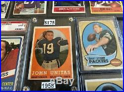 Awesome Vintage Football Card Lot Johnny Unitas Bart Starr Rookies Stars