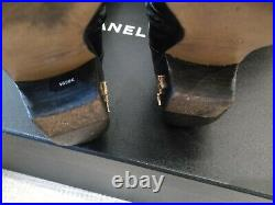CHANEL 14A Black Leather Paris Dallas Over Knee Thigh Heel CC Gold Logo Boots