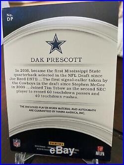 Dak Prescott 2016 Panini Immaculate RC Rookie Autograph 28/49 Cowboys