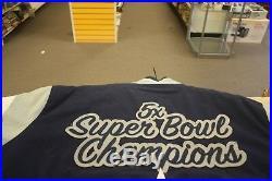 Dallas Cowboys Jacket Elite Varsity Jacket with Super Bowl Patch Navy
