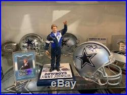 Dallas Cowboys Jimmy Johnson Autographed Mini Helmet & Card, Custom Figure