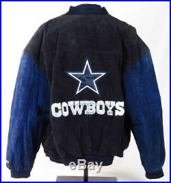 Dallas Cowboys Men Leather Jacket XL Black Blue Suede NFL Game Day Varsity  Coat 40ef52b30