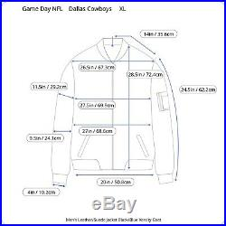 Dallas Cowboys Men Leather Jacket XL Black Blue Suede NFL Game Day Varsity Coat