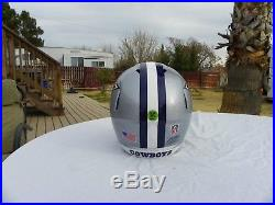 Dallas Cowboys Metal Flake Football Helmet Will Fit 7 3/8- 7 5/8 Hat Size
