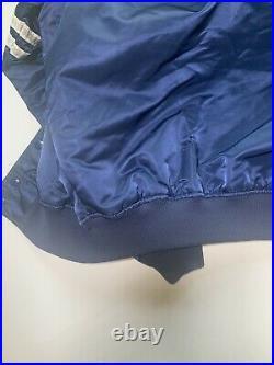 Dallas Cowboys NFL By Starter Vintage Satin Nylon Snap On Navy Jacket Large