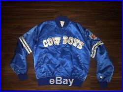 Dallas Cowboys Rare Blue Vintage Starter Satin NFL Football Jacket Mens Large