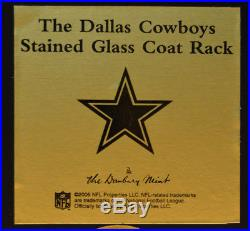 Dallas Cowboys Stained Glass Coat Rack from Danbury Mint with Box, Holds 3 Coats